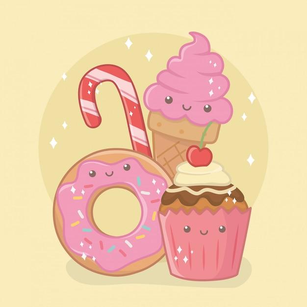 おいしいと甘いドーナツと製品かわいい文字 無料ベクター