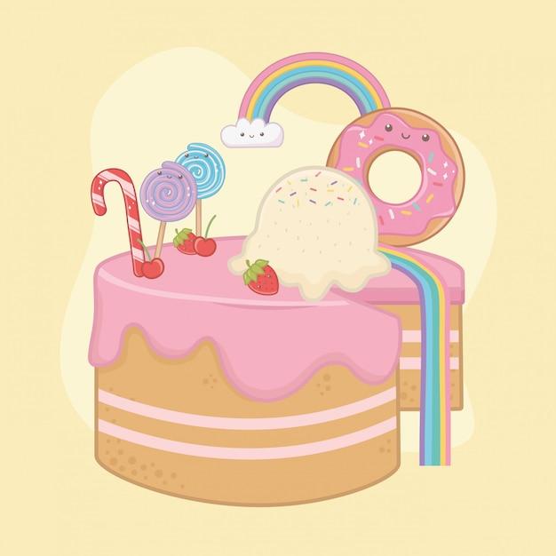 Сладкий пирог из клубничного крема с символами каваи Бесплатные векторы