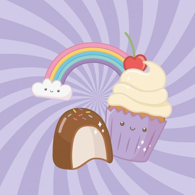 Сладкий кекс и конфеты каваий персонажей Бесплатные векторы