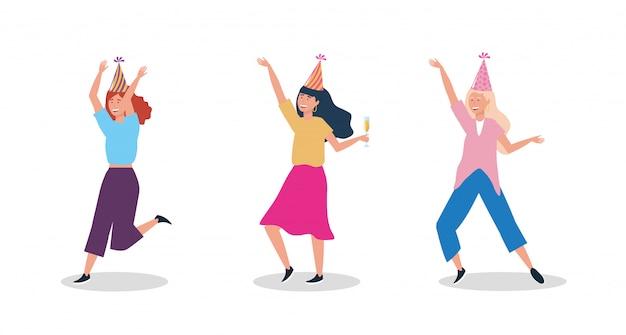 Набор женщин, танцующих с партийной шляпой Бесплатные векторы