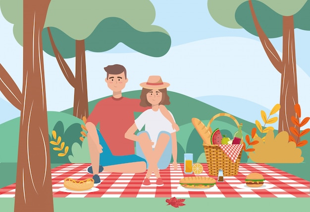 Женщина и мужчина в скатерти с бутылкой хлеба и вина Бесплатные векторы
