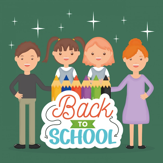 学校に戻る。若い先生たちと小さな生徒たち 無料ベクター