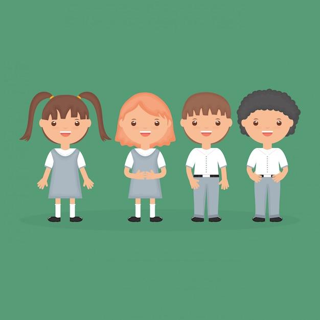 学校に戻る。かわいい小さな学生グループキャラクター 無料ベクター