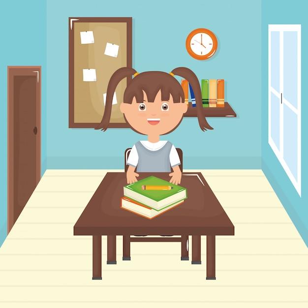教室でかわいい小さな学生の女の子 無料ベクター