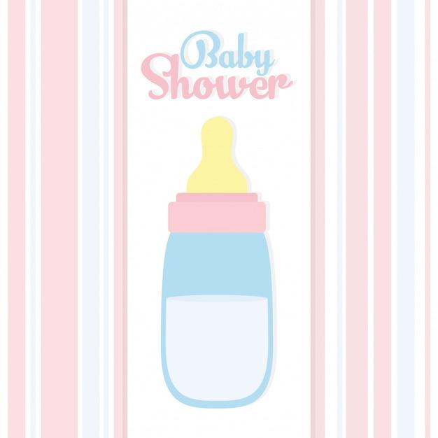 Детский душ. детское молоко для бутылочек Бесплатные векторы