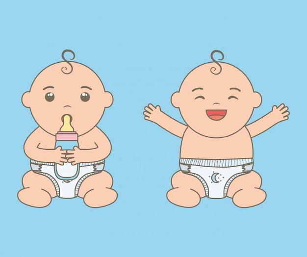 ボトルのミルクのキャラクターとかわいい赤ちゃん男の子 無料ベクター