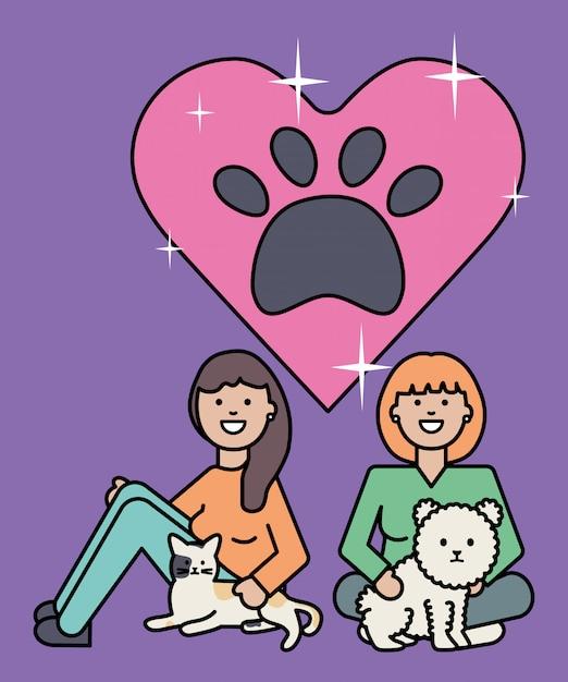 かわいい猫と犬のマスコットを持つ若い女性 無料ベクター