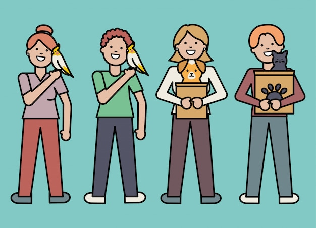 Молодые люди с обожаемыми талисманами Бесплатные векторы
