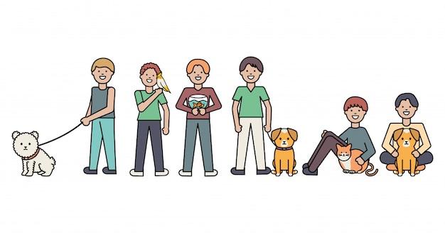 小さな犬と猫の愛らしいマスコットを持つ若い男性 無料ベクター