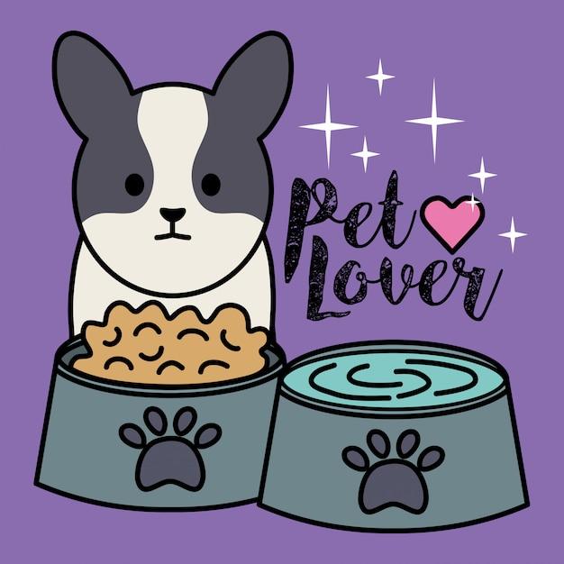 料理の食べ物や水で愛らしい小さな犬 無料ベクター