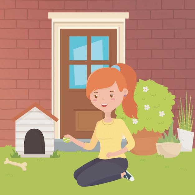 マスコットと女の子の漫画デザインのための家 無料ベクター