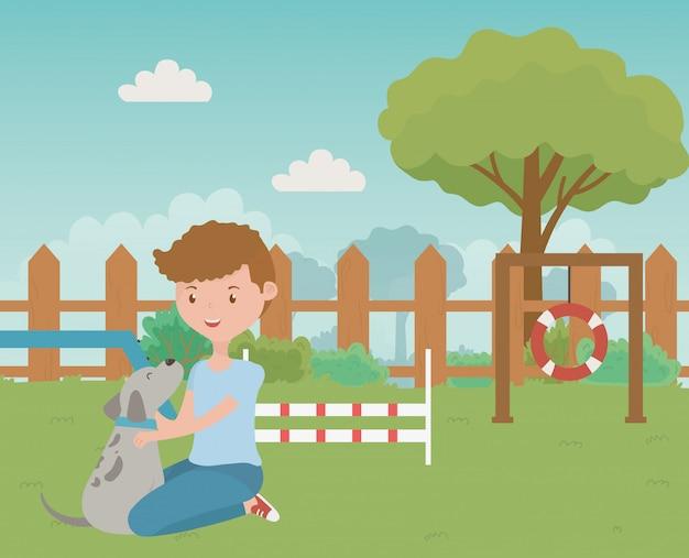 Мальчик с собакой мультяшный дизайн Бесплатные векторы