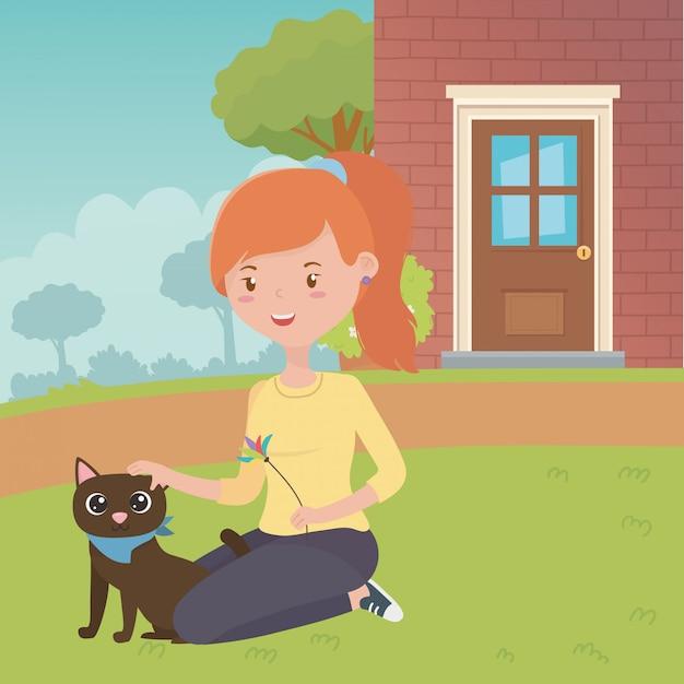 猫漫画デザインの女の子 無料ベクター