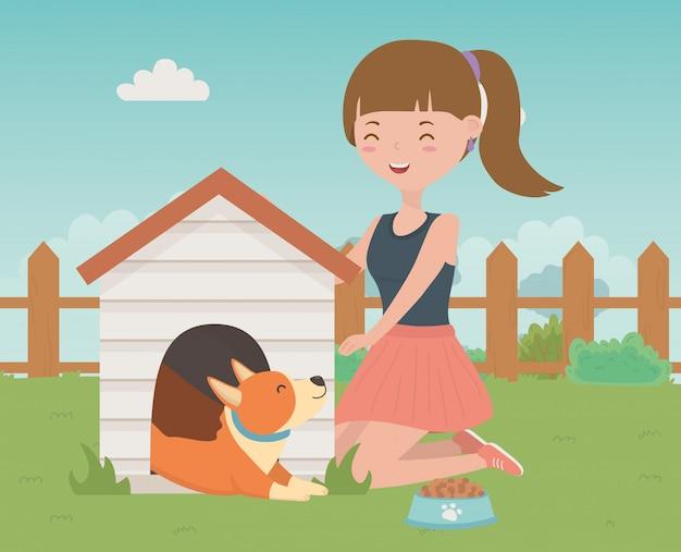 犬漫画のデザインを持つ少女 無料ベクター