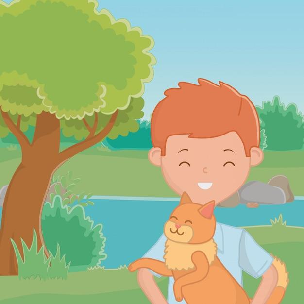 猫漫画デザインを持つ少年 無料ベクター
