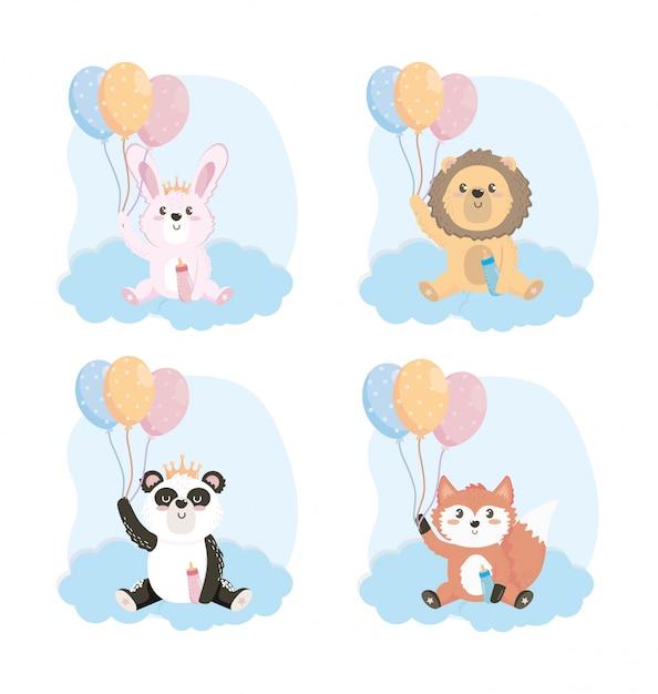 Набор милых животных с бутылочкой для кормления и воздушными шарами Бесплатные векторы