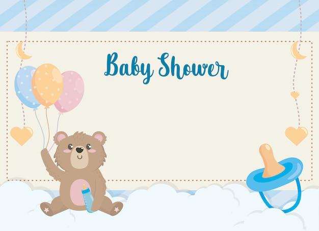 哺乳瓶と風船でかわいいクマのカード 無料ベクター