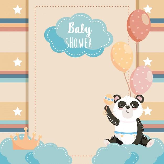 クラウンと風船かわいいパンダのカード 無料ベクター