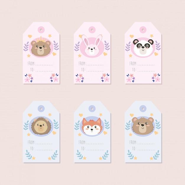 Набор наклеек с изображением милых животных Бесплатные векторы