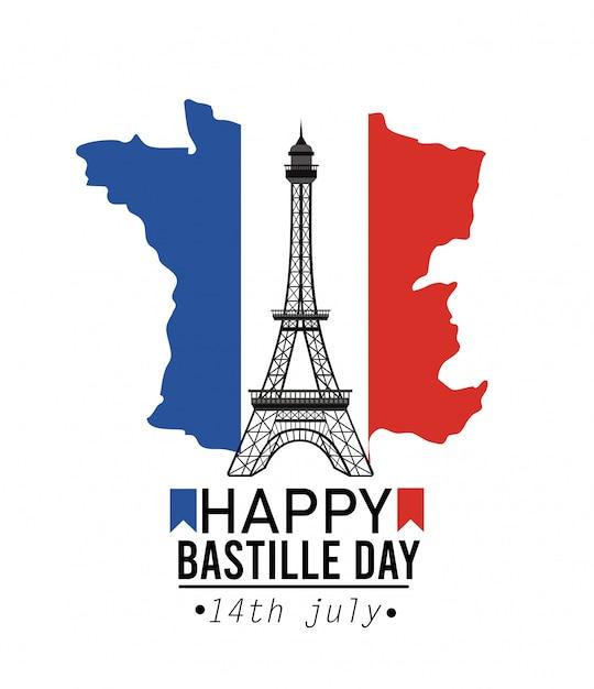 エッフェル塔とフランス地図フラグ 無料ベクター