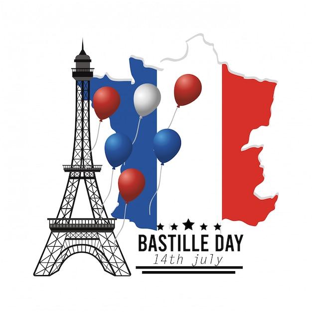 エッフェル塔と風船の装飾とフランスの地図 無料ベクター