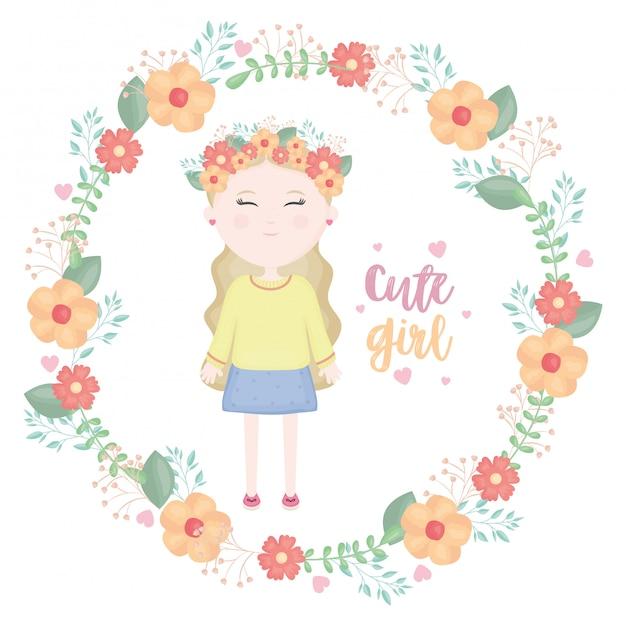 Милая маленькая девочка с цветочным символом короны Бесплатные векторы