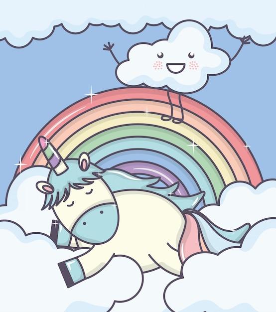 Милый очаровательный единорог с облаками и радугой Бесплатные векторы