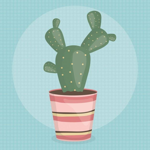 陶磁器の鍋でエキゾチックなサボテンの植物 無料ベクター