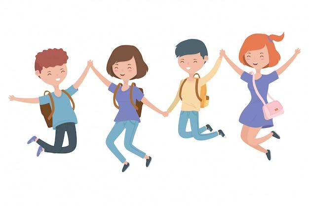 Подростковые мультфильмы для мальчиков и девочек Бесплатные векторы