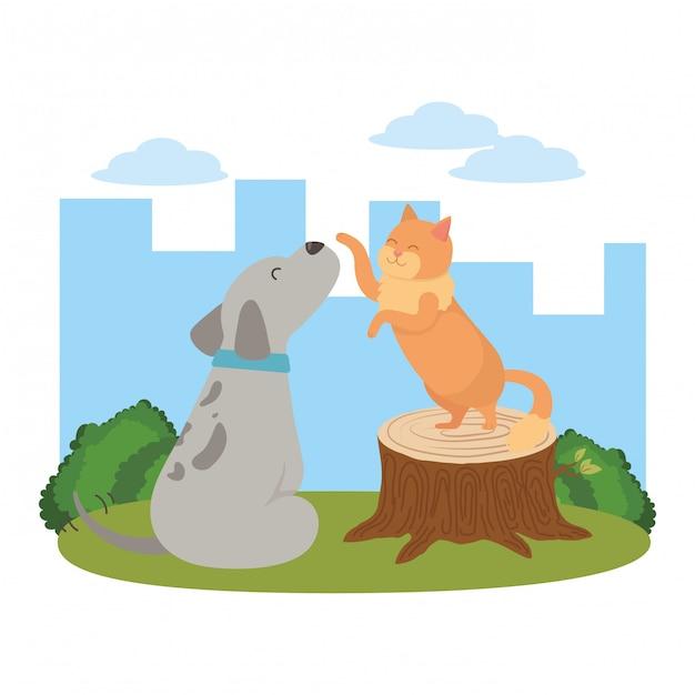 Мультфильм кошка и собака Бесплатные векторы