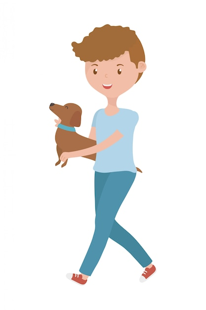 犬の漫画を持つ少年 無料ベクター