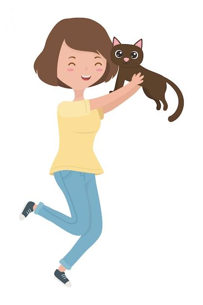 猫の漫画を持つ少女 無料ベクター