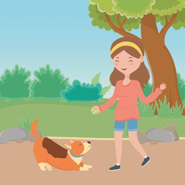 犬の漫画を持つ少女 無料ベクター