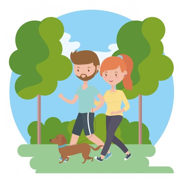 男の子と女の子が犬を連れたカップル 無料ベクター