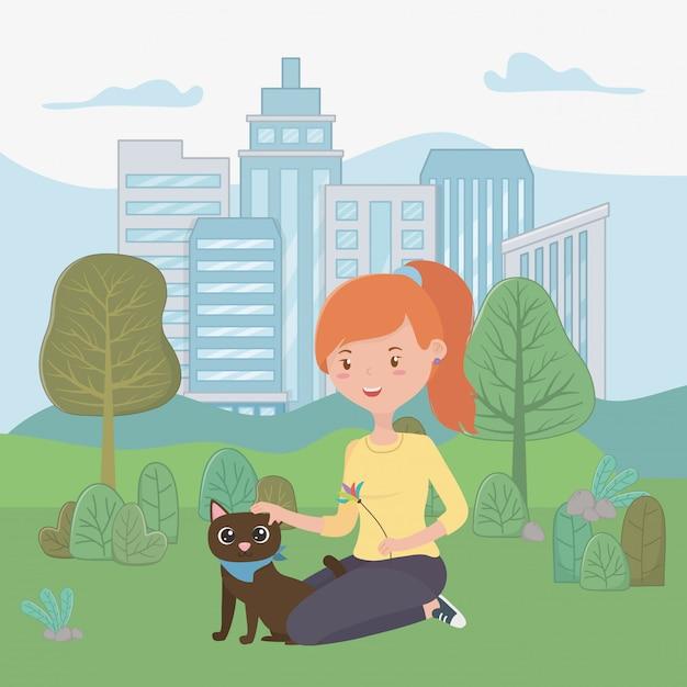 漫画の猫を持つ少女 無料ベクター