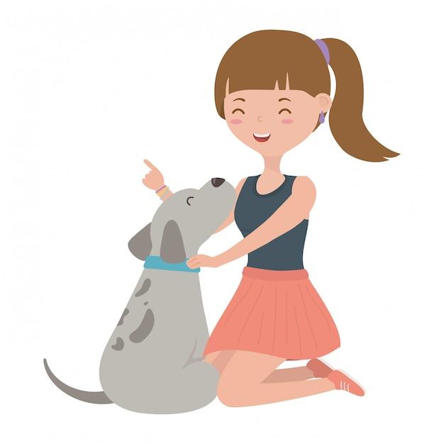 漫画の犬を持つ少女 無料ベクター