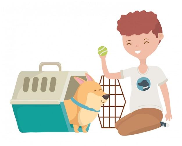犬小屋の中の漫画の犬を持つ少年 無料ベクター
