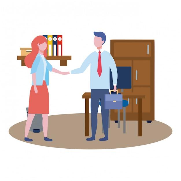 ビジネスの男性とビジネス女性のアバター 無料ベクター