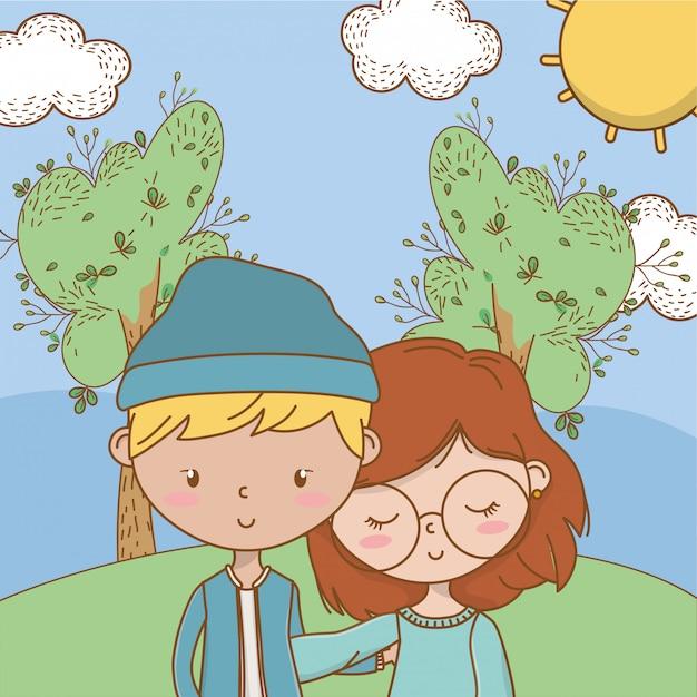 Подросток мальчик и девочка мультфильма Бесплатные векторы