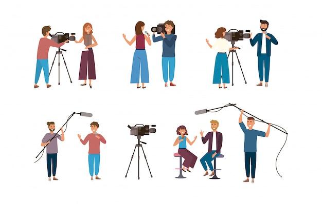 カメラの男性とビデオカメラとカメラの女性と女性と男性のレポーターのセット Premiumベクター
