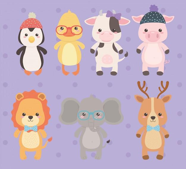 かわいいと小さな動物のキャラクター Premiumベクター