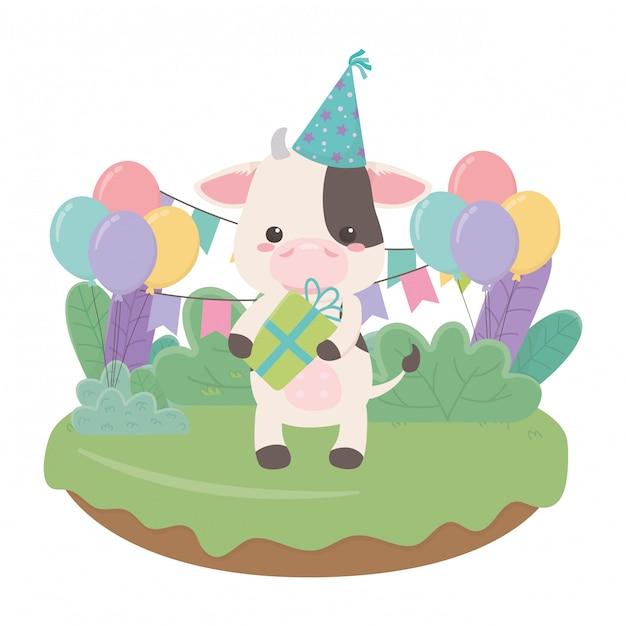 お誕生日おめでとう牛漫画 Premiumベクター