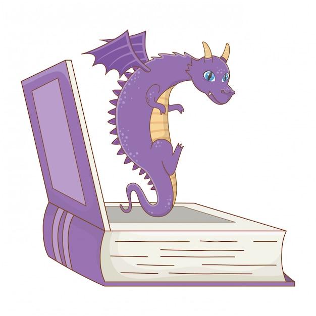 Изолированные дракон мультяшный дизайн векторная иллюстрация Premium векторы