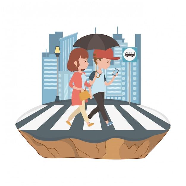 Пара женщина и мужчина мультфильм дизайн Premium векторы