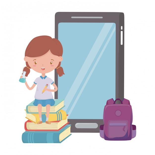 Девочка малыш школы и дизайн смартфона Premium векторы