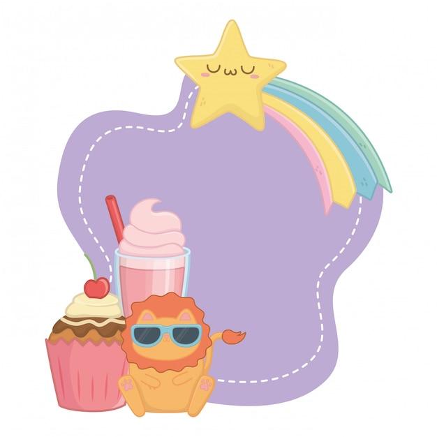 Каваи льва мультфильм и десерты Premium векторы