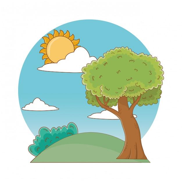 自然屋外ツリー環境漫画 Premiumベクター