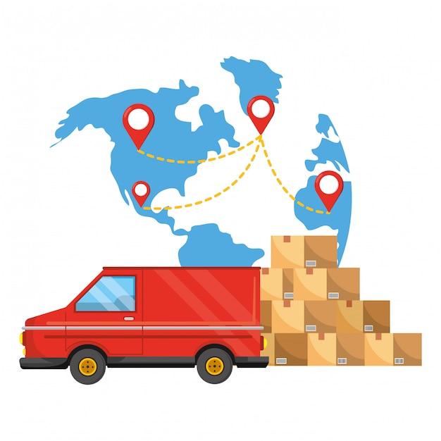 配送追跡サービスの配送ロジスティック Premiumベクター