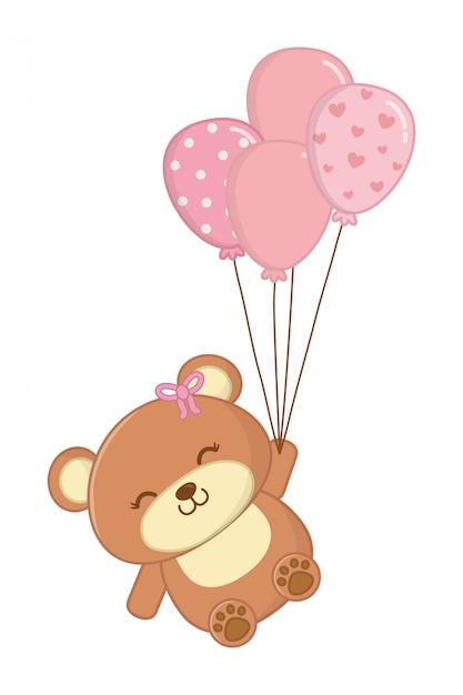Игрушечный медведь с воздушными шарами Premium векторы