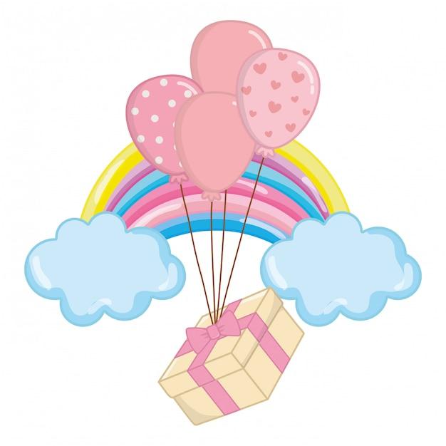 Воздушный шар с иллюстрацией подарочной коробке Premium векторы